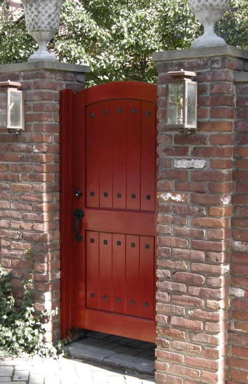 Red Door With Brick Brick Fence Backyard Fences Bamboo