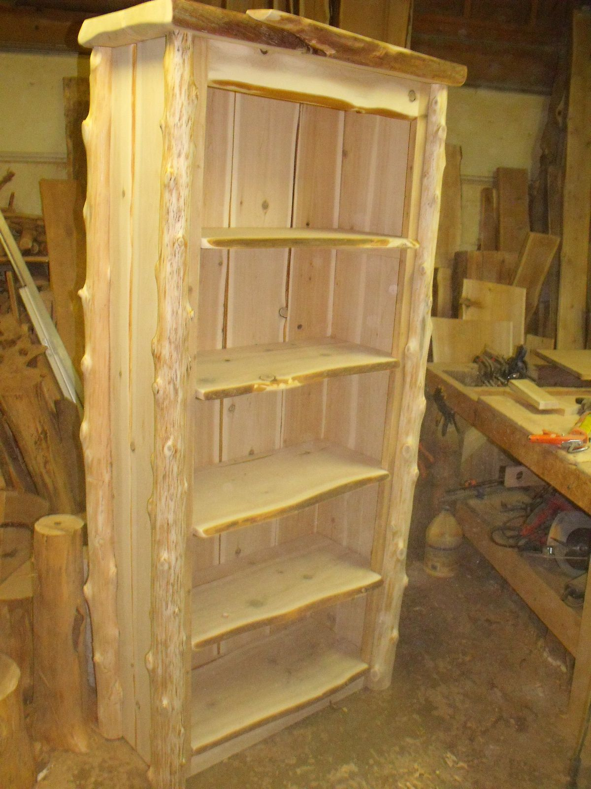 Rustic Handcrafted Bookcase.... Another blue pine (Ponderosa Pine ...