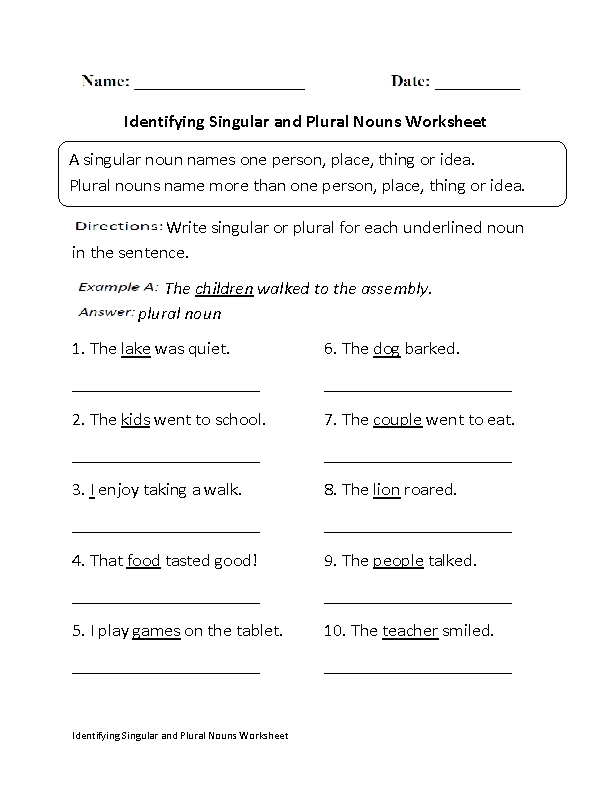 Englishlinx.com | Nouns Worksheets | Nouns worksheet, Singular and plural,  Plurals