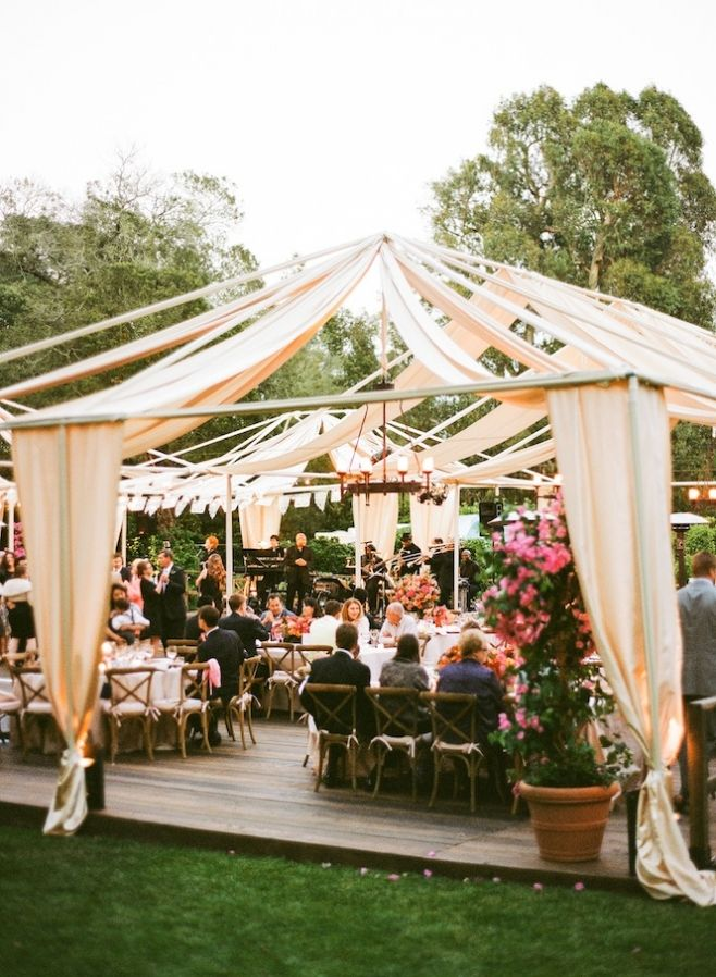 do you invite officiant to wedding reception%0A Lovely Spanish Colonial Inspired Wedding on La Fete Weddings Blog  Ivory  Fabric Draping  u     wrought