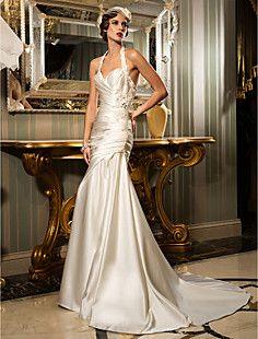Sheath/Column Halter Court Train Satin Wedding Dress (612945... – USD $ 249.99