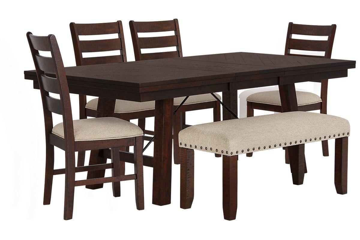 Jax Dark Tone Wood Table 4 Chairs Bench Grace Home Ideas