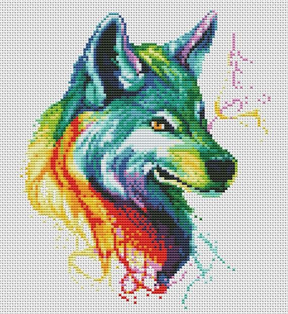 """Photo of Modern cross stitch pattern """"Watercolor Wolf"""" in pdf. Colorful cross stitch pattern in pdf. Animals cross stitch pattern. BUY 2 GET 1 FREE"""
