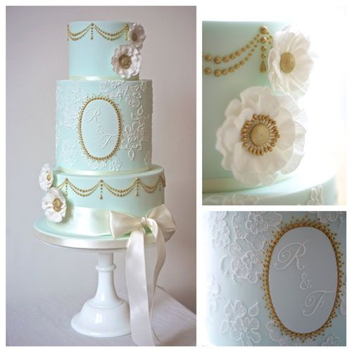 Duck Egg Blue And Gold Initialed Personalised Wedding Cake Http Www Annatylercakes