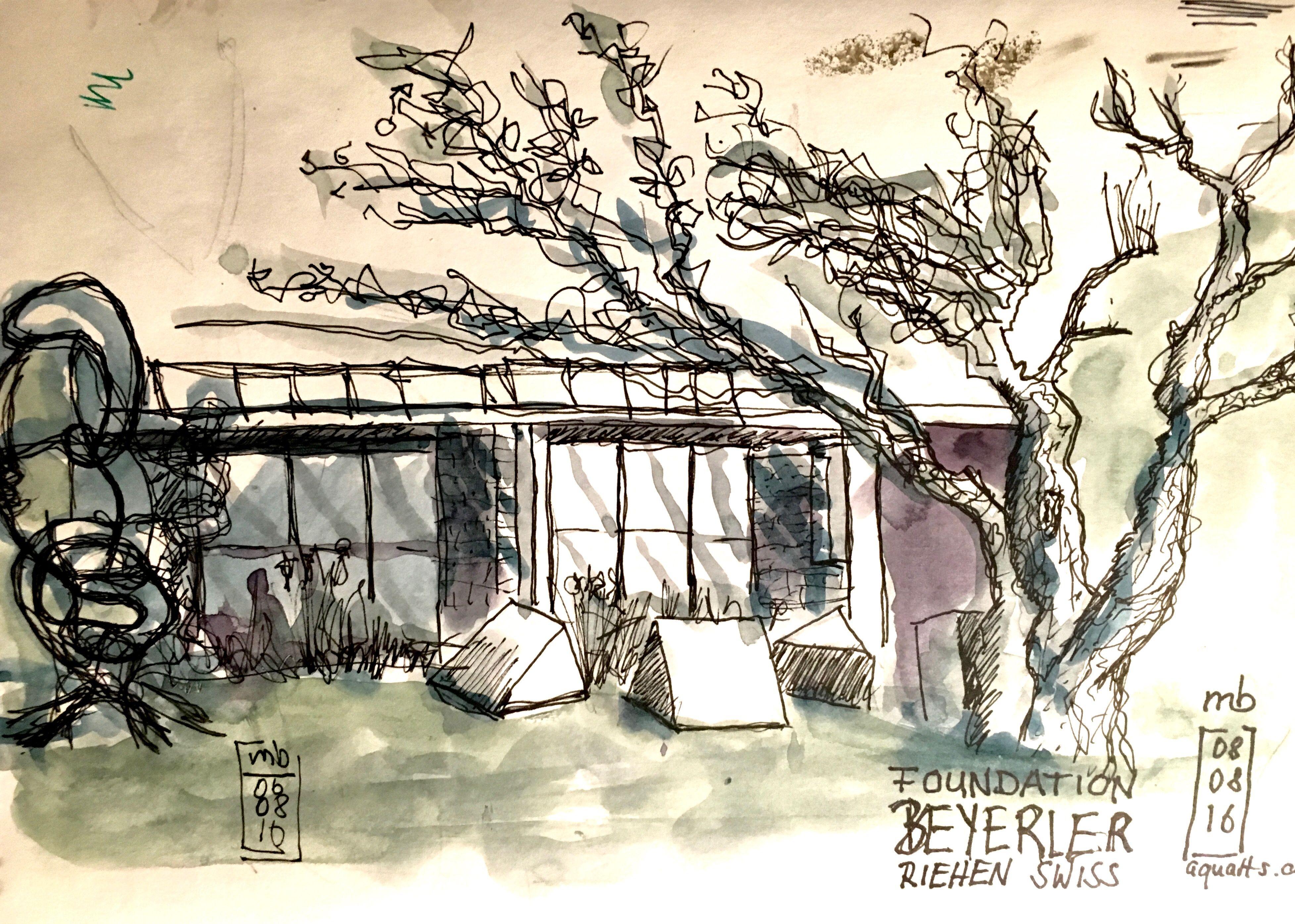Michael Basler, sketchbook, ink & watercolor, Foundation Beyerler,  Riehen Swiss