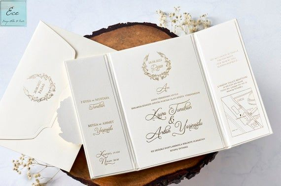 Wedding Invitation. Amazing Folded Design with Two Sided Opener. Gold Foil Monogram Holder. Definition of Luxury and Class. Stylish Details