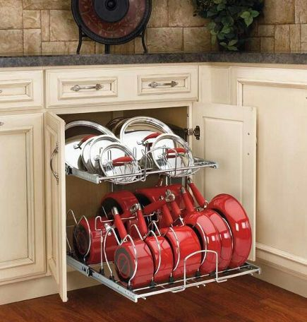 Kitchen Base Cabinet Double Tier Pout And Pan Pull Out   Rev A Shelf