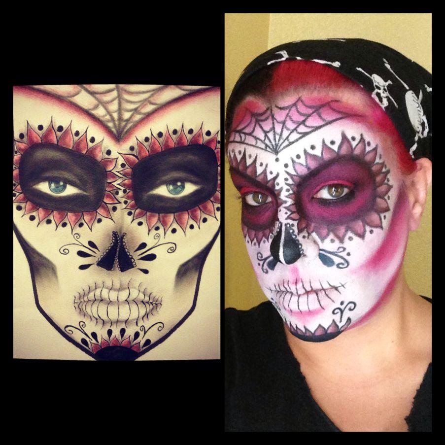 Sugar skull makeup and facechart concept by Becki Morgan.