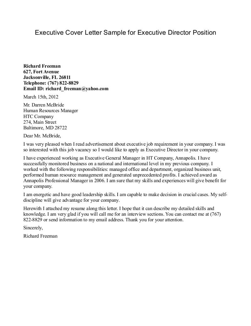cover letter one executive writing resume sample letters examples ...