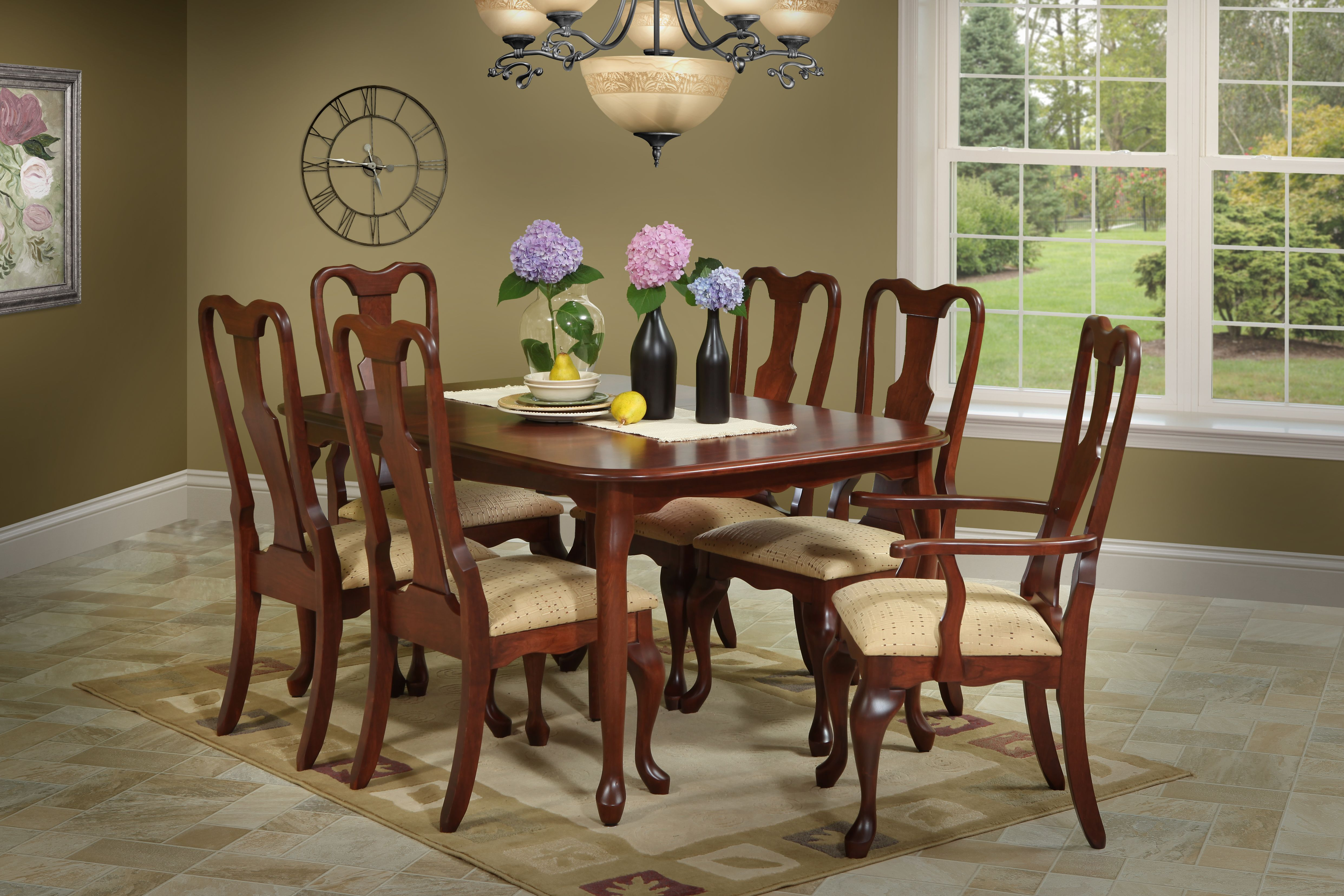 Cherry Queen Anne Dining Room Table And Chairs Solid Hardwood Built To Order In The Usa Wooden Dining Room Table Upholstered Seating Dining Room Sets