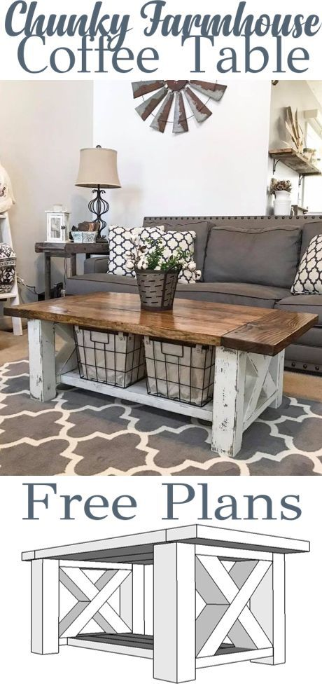 Photo of Coffee table – Chunky Farmhouse – HOW TO Woodworking Plans #chunky #couchti …