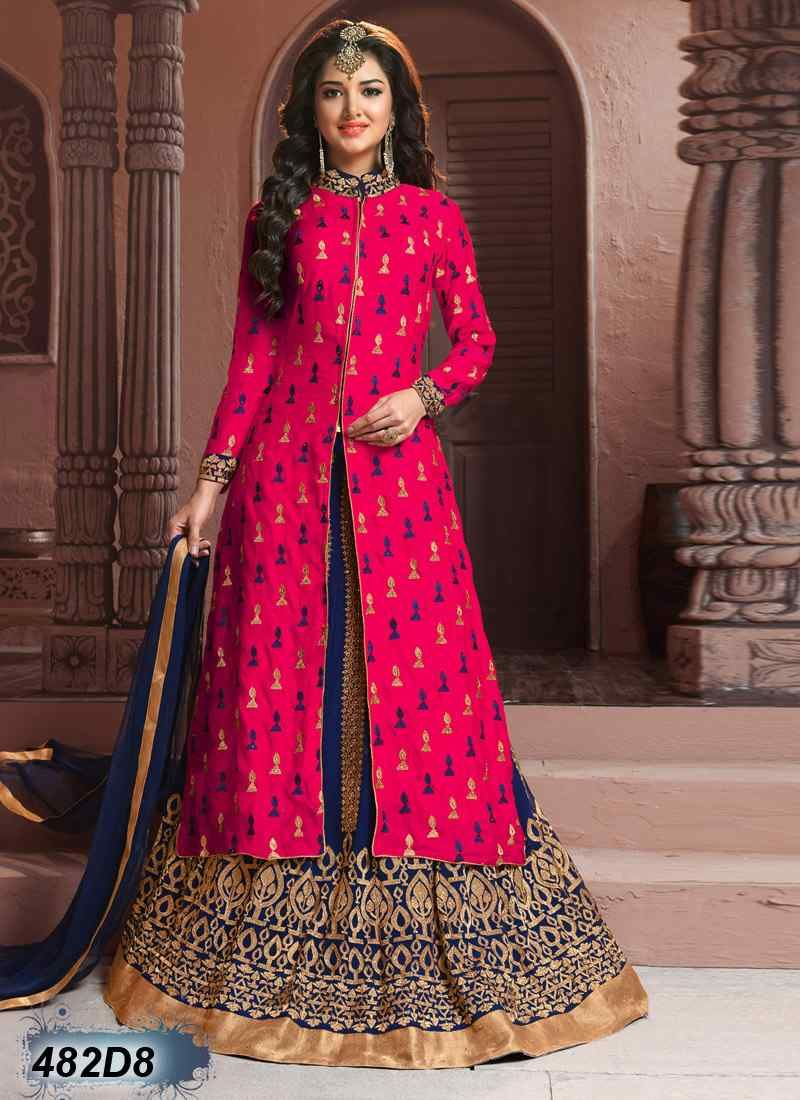 Exquisite Blue and Pink Coloured Georgette Lehenga Choli