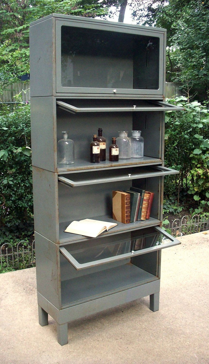 Vintage Industrial Mid Century Modern Metal And Glass Bookcase