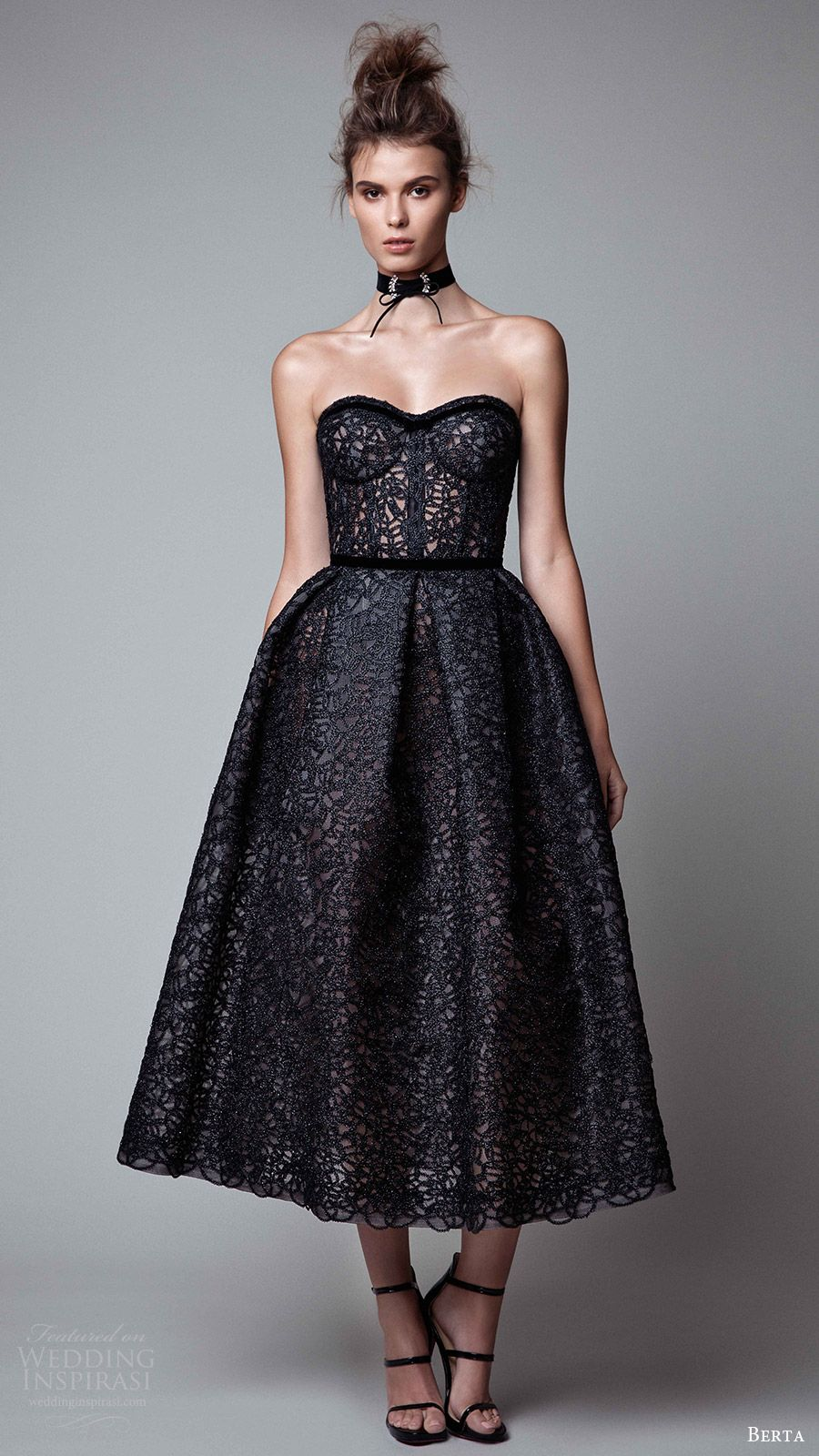 Berta rtw fall strapless sweetheart tea length ball