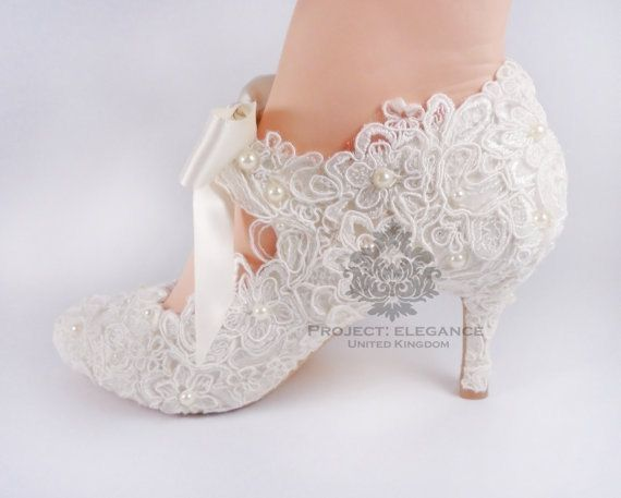 Beautiful Lace Shoes With Feminine Ribbons And Pearls Wedding