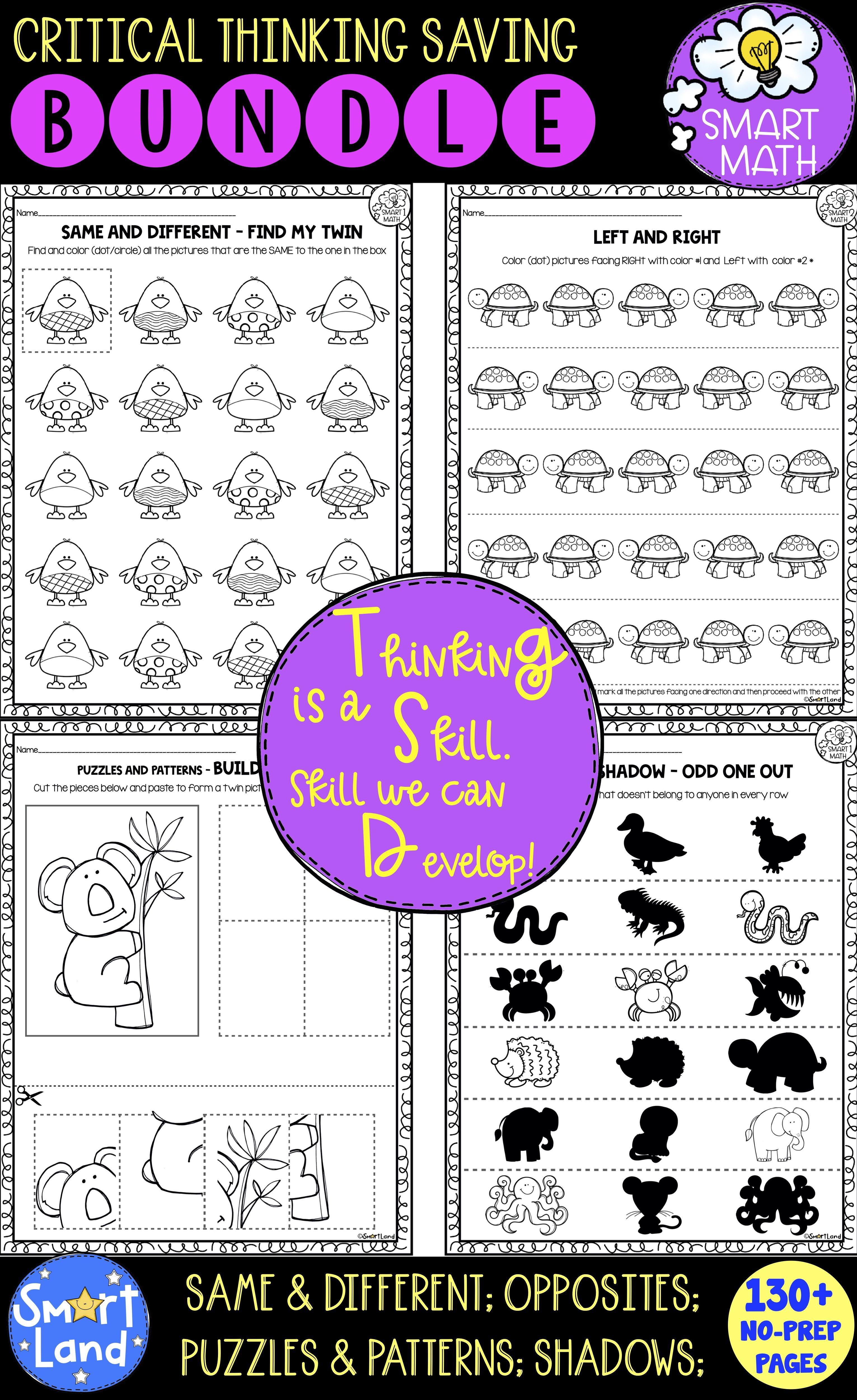 Critical Thinking Worksheets Early Math Activities In