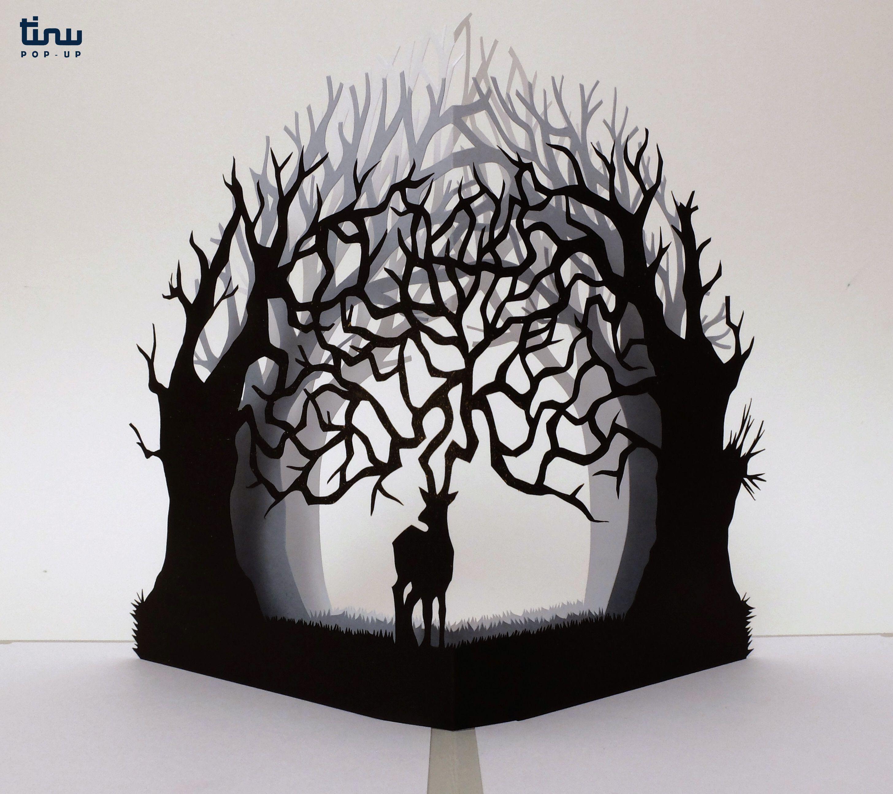 le dieu cerf carte pop up en papier fait main pop up pinterest. Black Bedroom Furniture Sets. Home Design Ideas