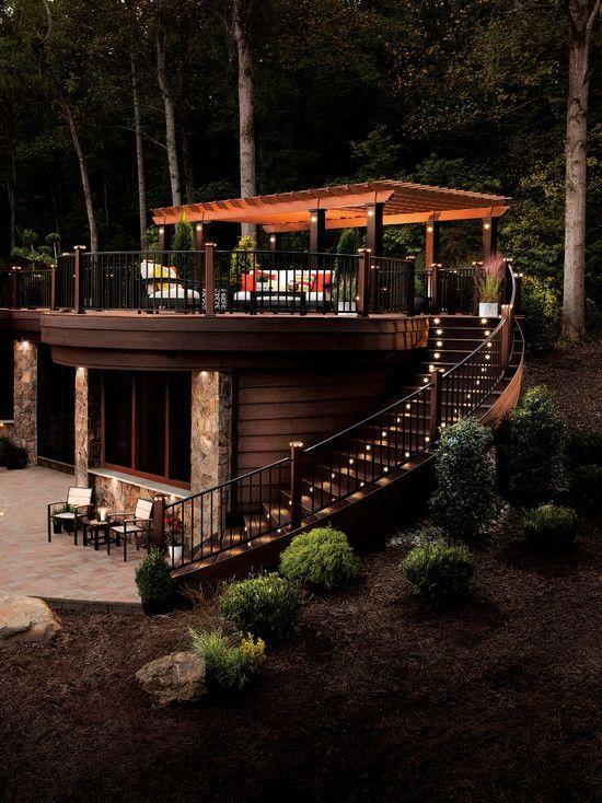 Haus Wald Terrassengestaltung Treppen überdachung Möbel Romantisch ... Garten Landschaft Gestaltung Wald