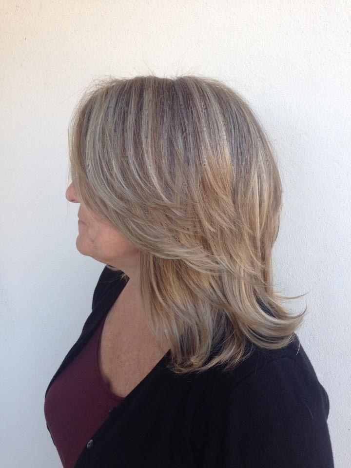 Gray Blending Blonde Haircut For Volume Salon Work Pinterest