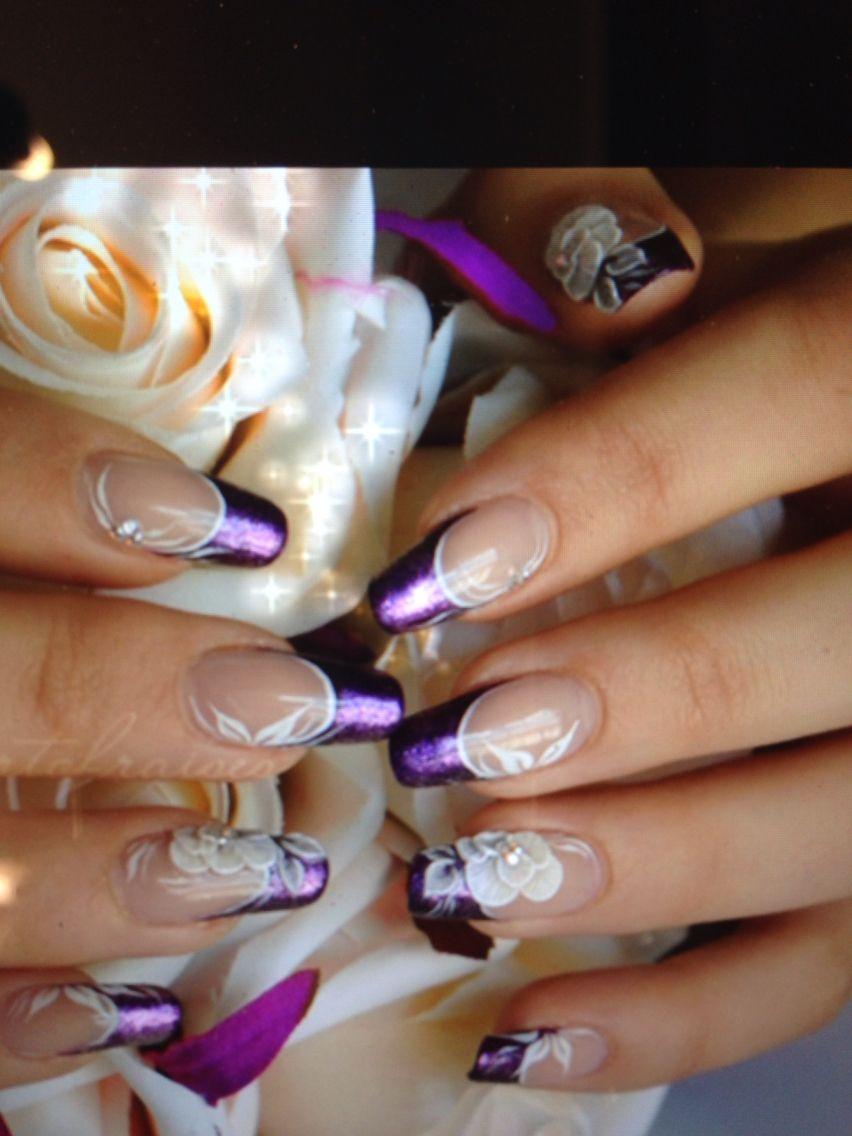 Nail art design tips 3d flower | Purple wedding nails ...