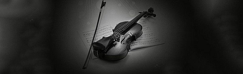 Black And White Music Violin Background Banner Sxs