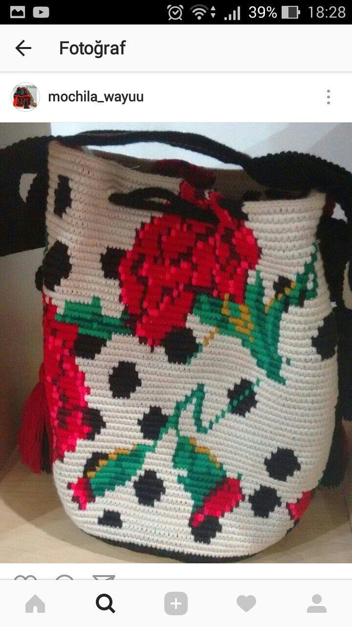 Wayuu Mochila bag | Bolsos wayuu bordados | Pinterest | Tapestry ...