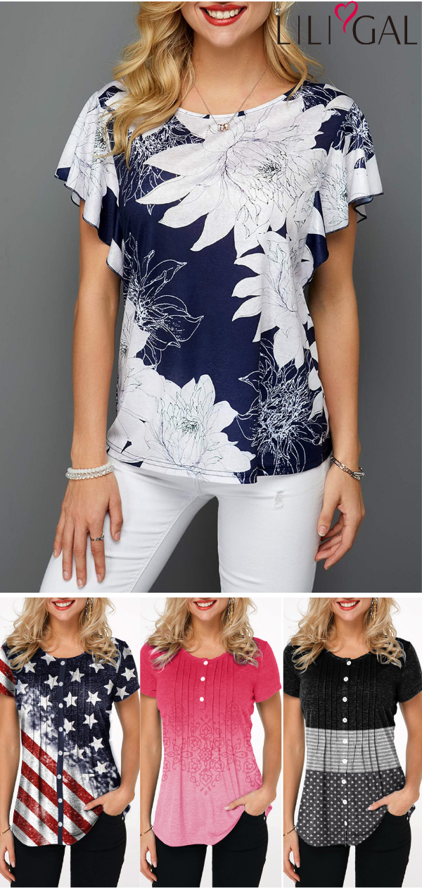 16ad39dc62 cute summer tops for women, floral print blouse, casual t shirts, short  sleeve