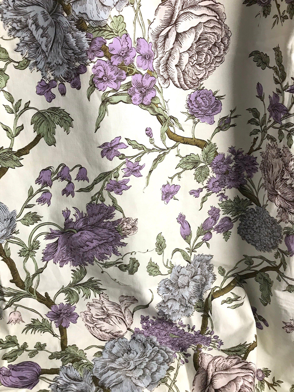 Vintage Dark Purple Black White Floral Silk Fabric 45x45