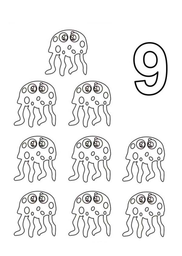 Learn Number 9 With Nine Jellyfish Coloring Page Bulk Color Crayola Coloring Pages Coloring Pages Coloring Pages For Teenagers