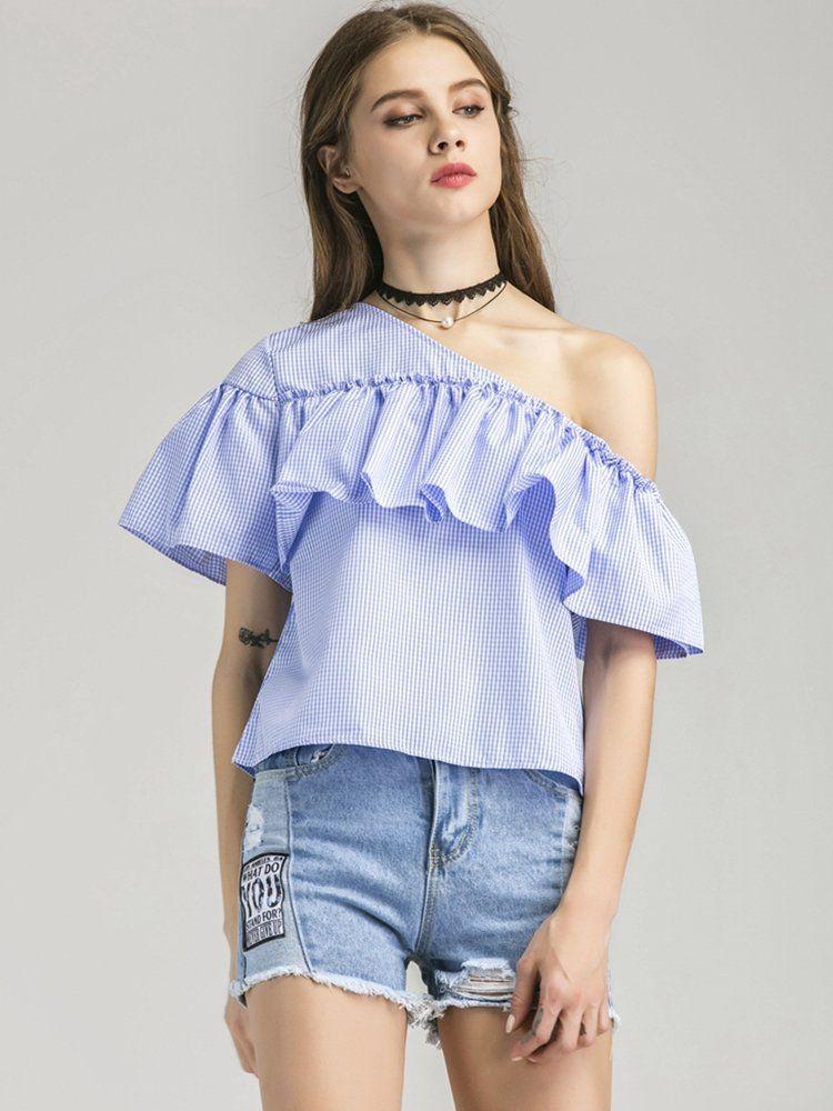 Fashion Women Loose One Shoulder Tops Blouse Shirt Summer Casual Striped T-shirt
