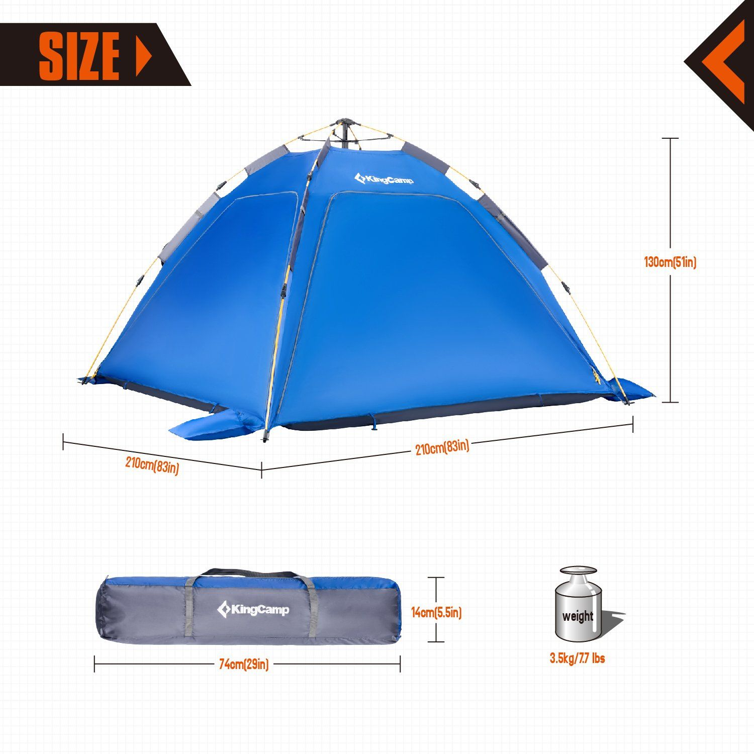Kingcamp Quick Up 34 Person Breathable Cabana Beach Sun Shelter Tent With Detachable Three Side Walls Blue For More Infor Backpacking Tent Tent Shelter Tent