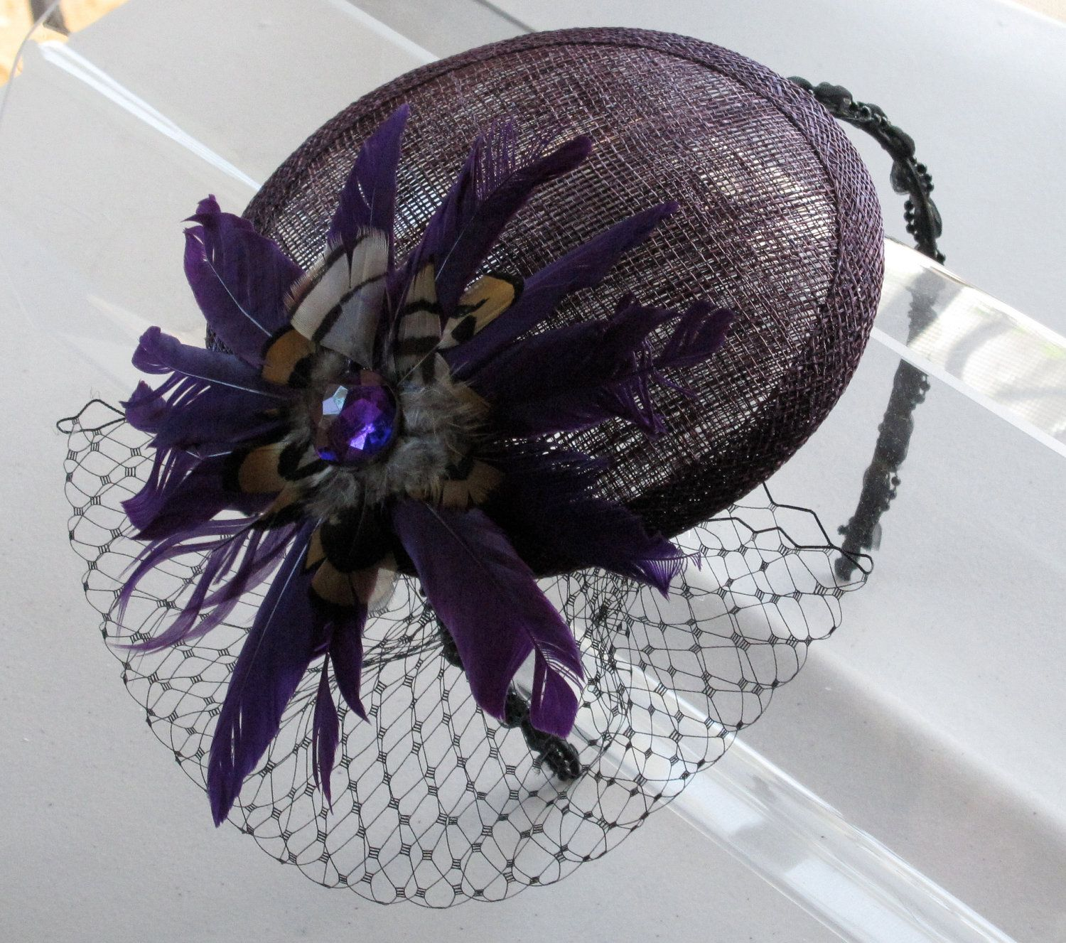 Plum Feather Flower Sinamay Fascinator Hat With Veil And Beaded Headband For Weddings Parties