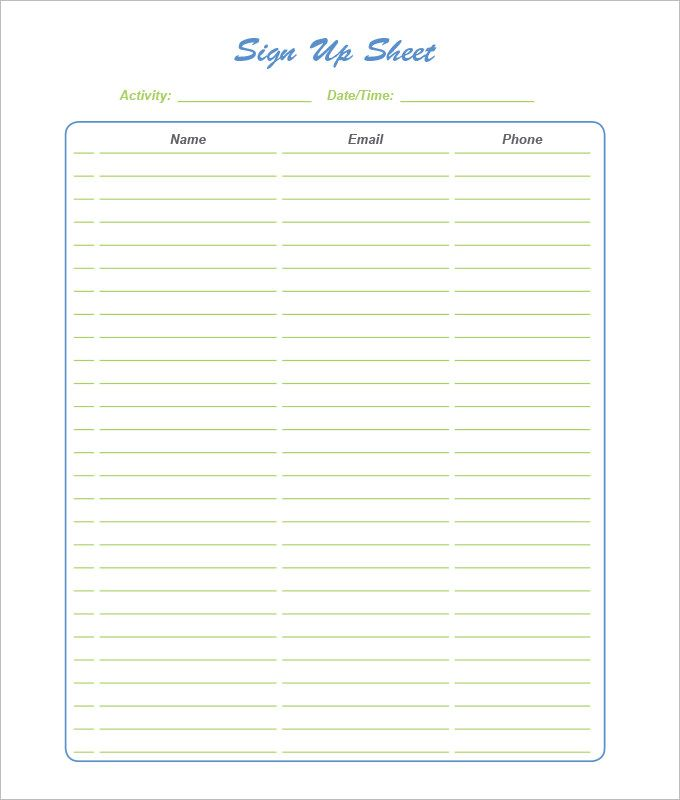Sign Up Sheets  Free Word Excel  Pdf Documents Download  Pdf