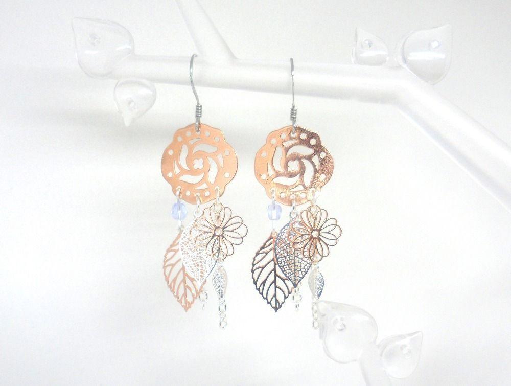 Or Boucles Romantiques Fleurs Perles Feuilles Rose D'oreilles 9HIWED2