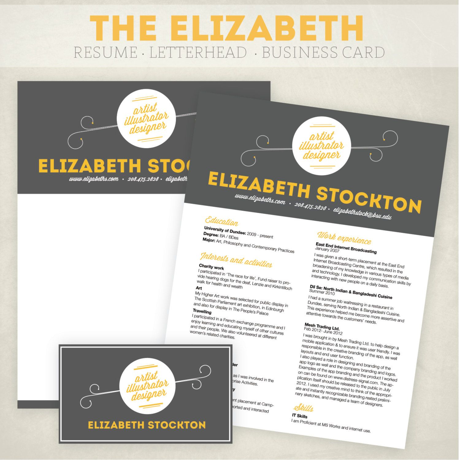 Resume, business card and letterhead design pack. | Business Cards ...