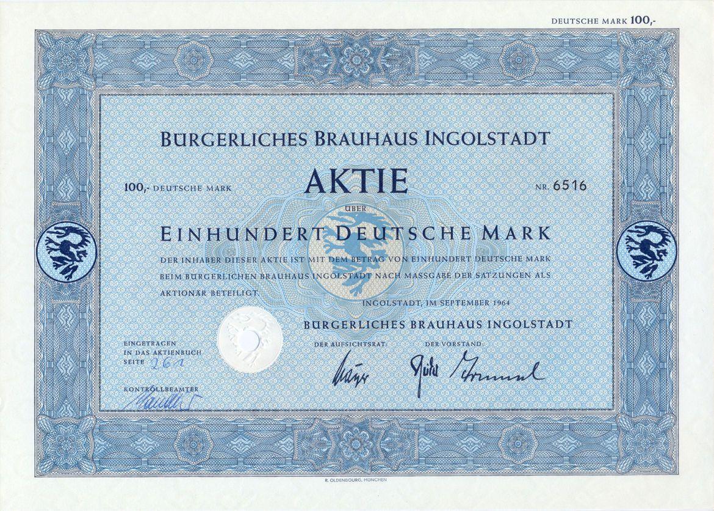 Bürgerliches Brauhaus Aktie 100 DM 1964