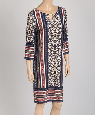 Take a look at this Navy & Orange Arabesque Stripe Shift Dress on zulily today!