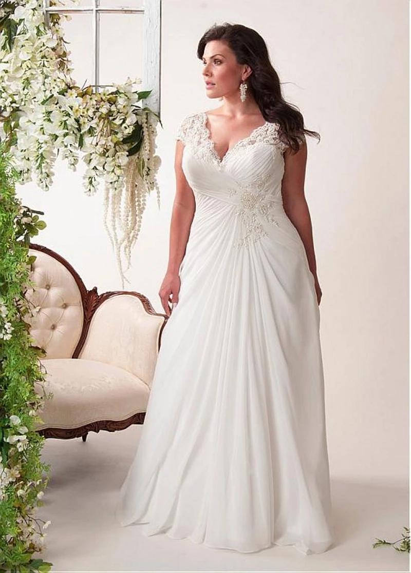 Plus Size V Neck Cap Sleeve Lace Applique Pleated Long Chiffon Bridal Wedding Dresses Plus Size Wedding Dresses With Sleeves Ball Gown Wedding Dress Apple Dress