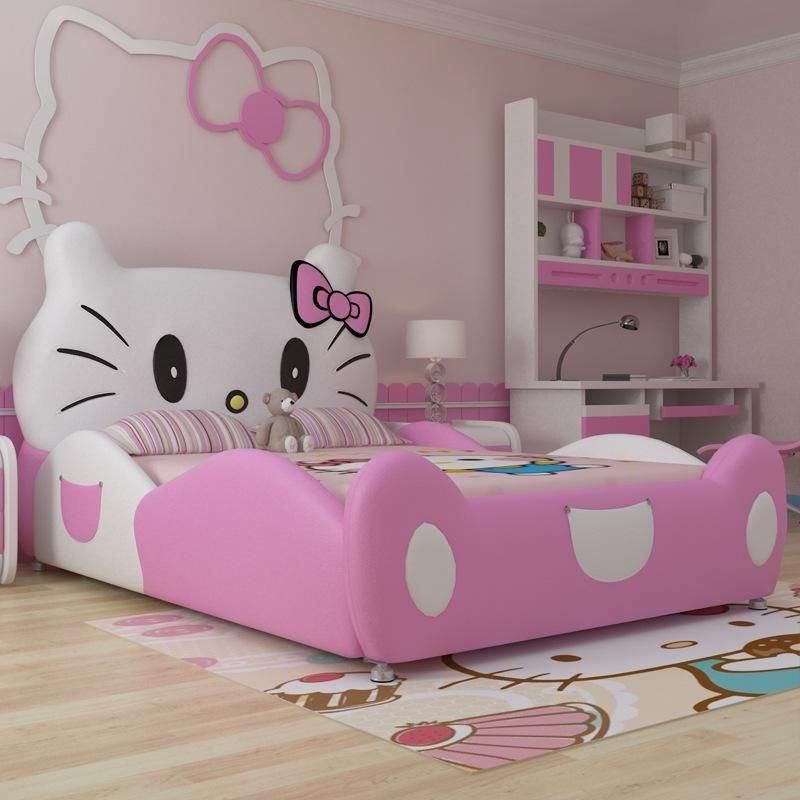 Modern Design Hello Kitty Pink Leather Children Bedroom For Girls
