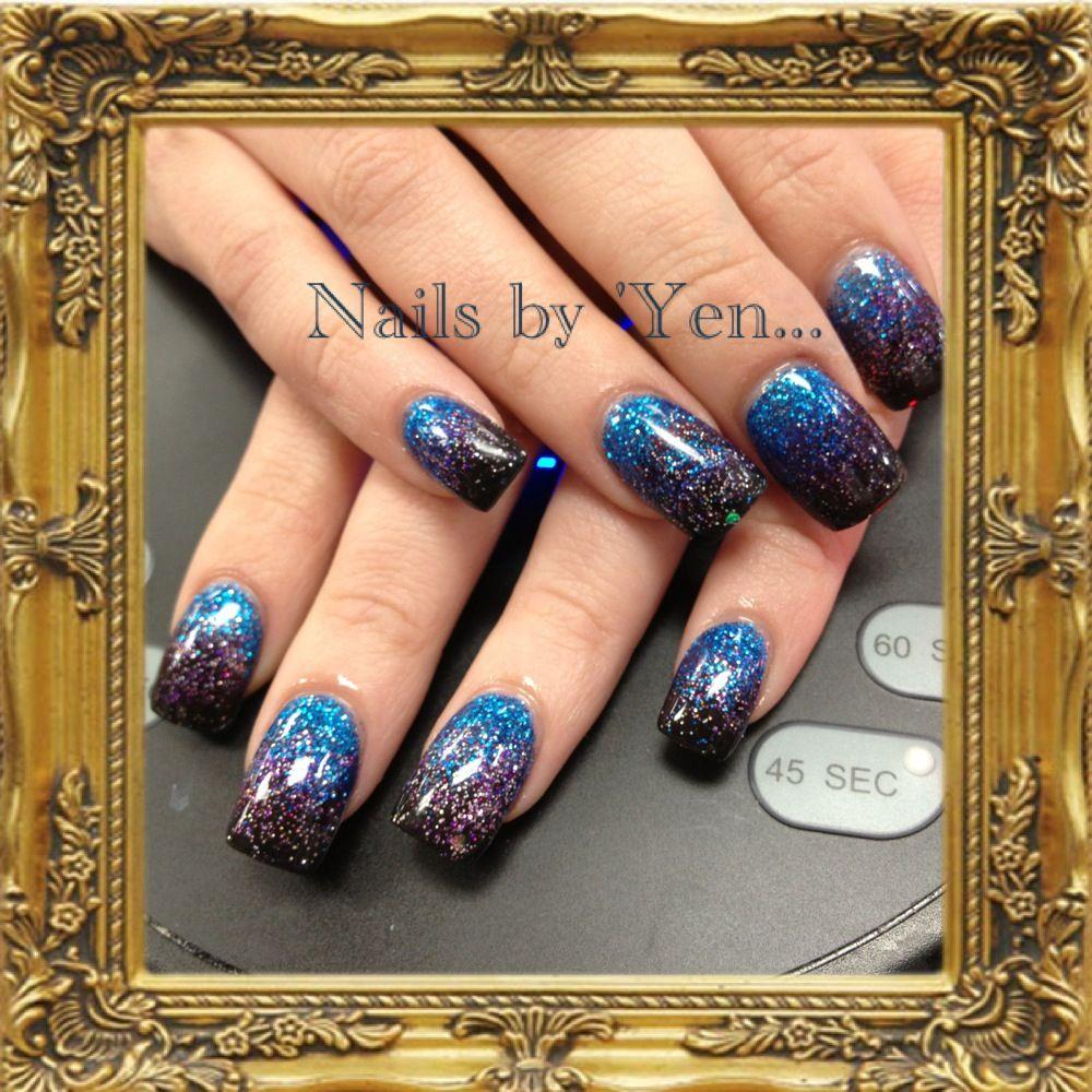 Thanks Alex! ... Ombre acrylic nails. Blue purple black nail design ...