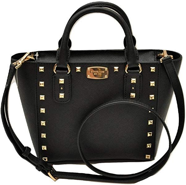 Michael Kors Sandrine Stud Small Crossbody Saffiano Leather Bag Handbag ( Black)  Handbags  Amazon.com d4e173e9ea715