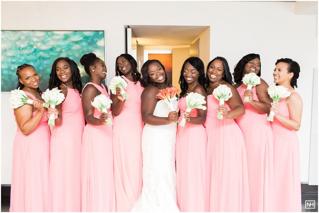 cute candid poses with bridesmaids, pink bridesmaids dressed wedding ...