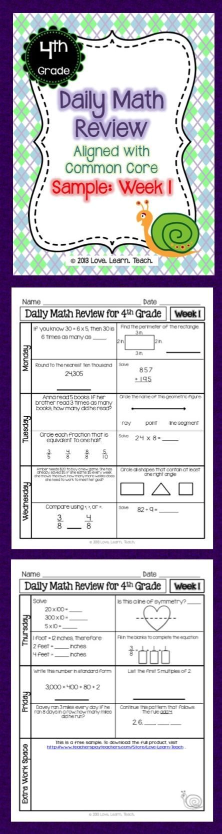 FREE 1-week sample of spiral Daily Math Review for 4th grade - sample fact sheets