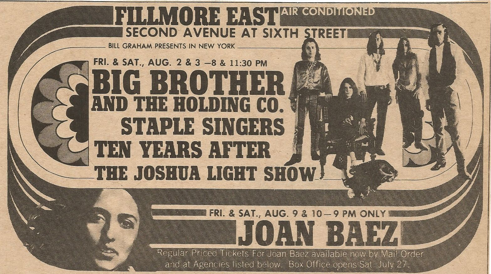 1968 Fillmore East Newspaper Ad Big Brother The Holding Co The Staple Singer Ten Years After The Joshua Ligh Fillmore East Janis Joplin Concert Posters
