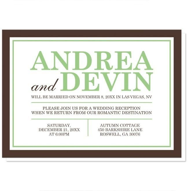 Small Ceremony Big Reception Invitations: Green And Brown Reception Only Invitations