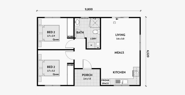Magnolia 2 Bedroom Granny Flat 60m2 Bungalow Floor Plans Granny Flat Plans Loft Floor Plans