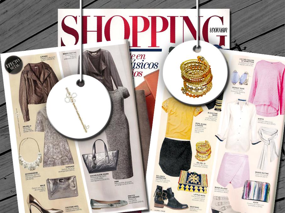 Nuestra diadema de cristal checo trenzado con flores de perlas de río y la pulsera de 12 vueltas de cristal Swarovski, de la colección Bouquet Arc-en-Ciel, en la revista Shopping Woman de febrero!