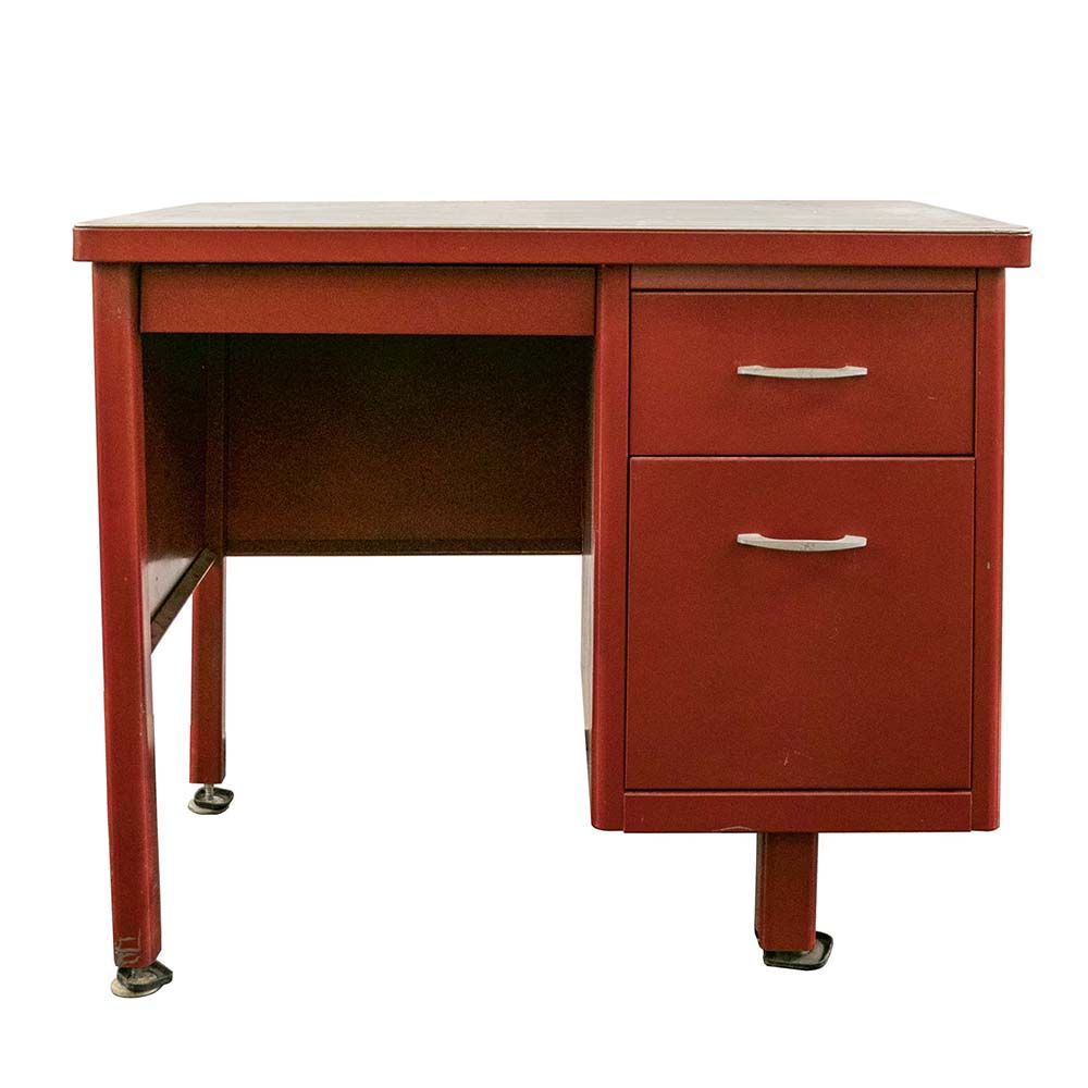 Small Vintage Desk Is Made From Industrial Steel With A Painted Red Finish A Steel Top Adds Contrast To The Bold Fi Small Vintage Desk Vintage Desk Steel Desk