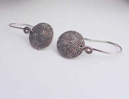 PMC Earrings, Fine Silver Metal Clay Earrings, Swirls, Circle, Round