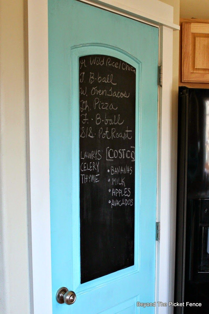 Paint extra pantry door contrast color with inner panel chalkboard ...